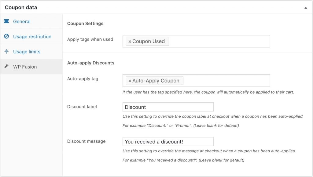 Apply Mailchimp tags for coupons and discounts