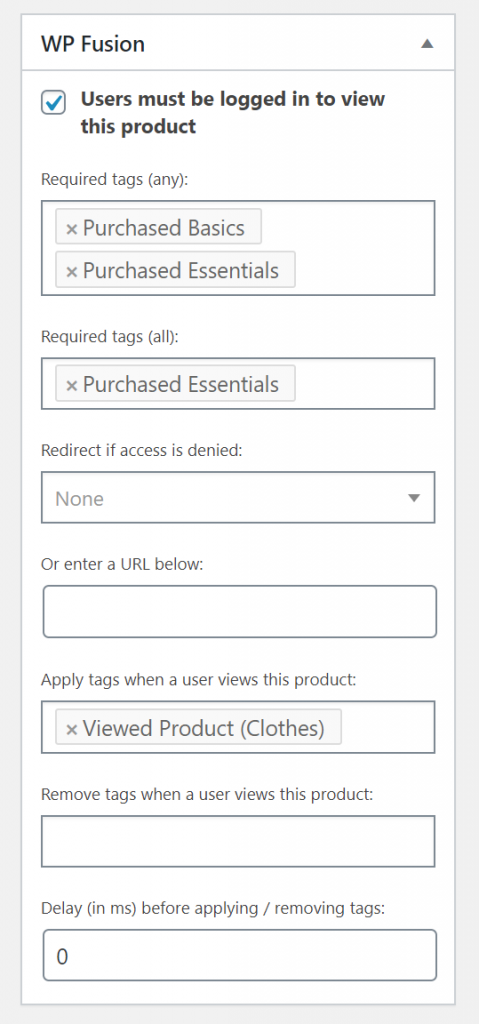 WP Fusion settings to restrict access to products in WooCommerce