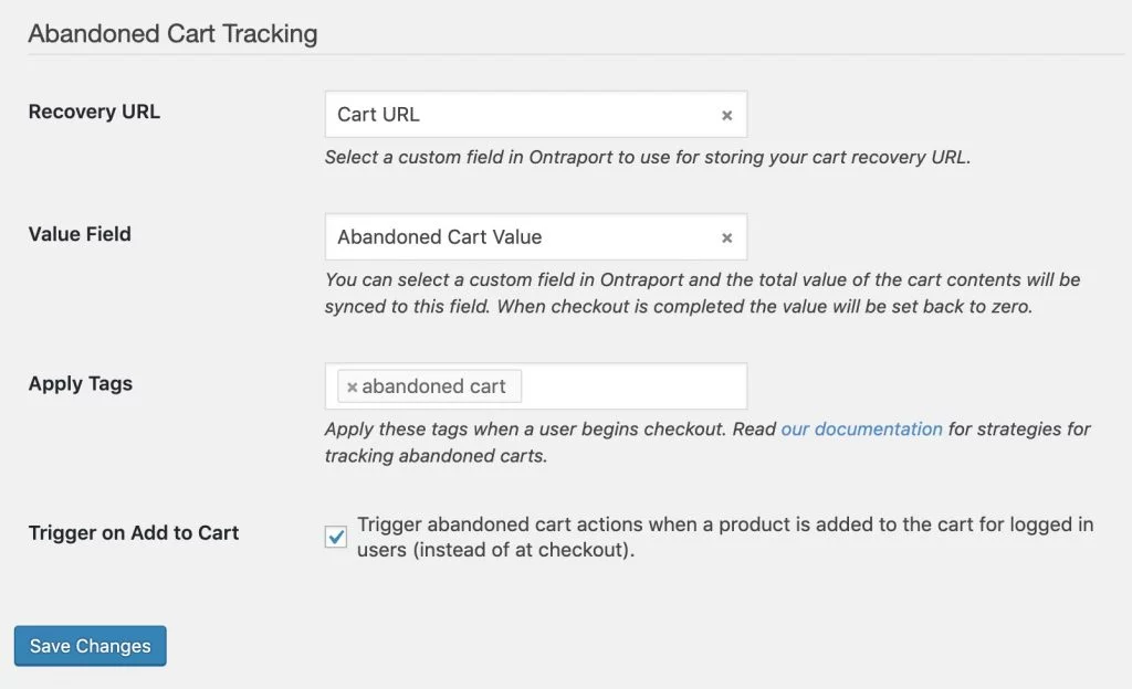Abandoned cart tracking settings