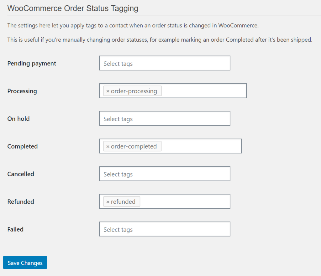 WP Fusion order status tagging settings for WooCommerce CRM
