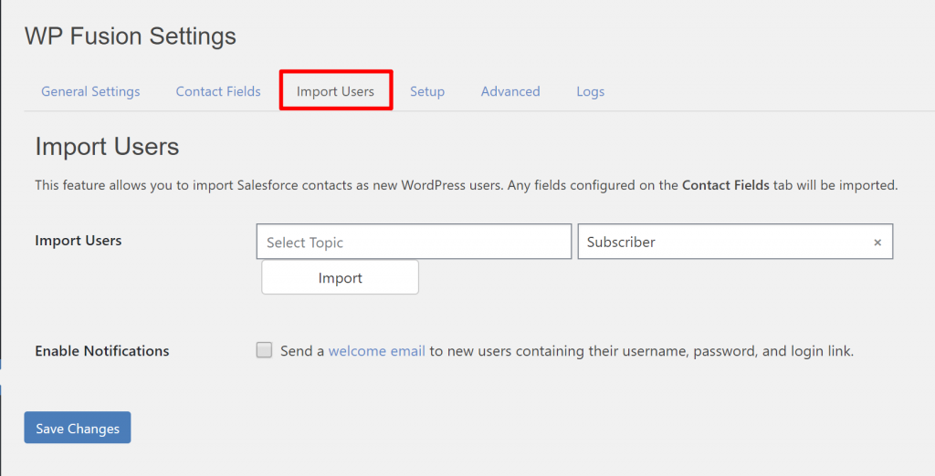 Import users from Salesforce to WordPress