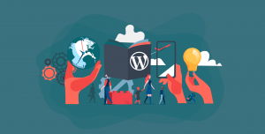 Featured image of WordPress-related graphics to illustrate the future of WordPress