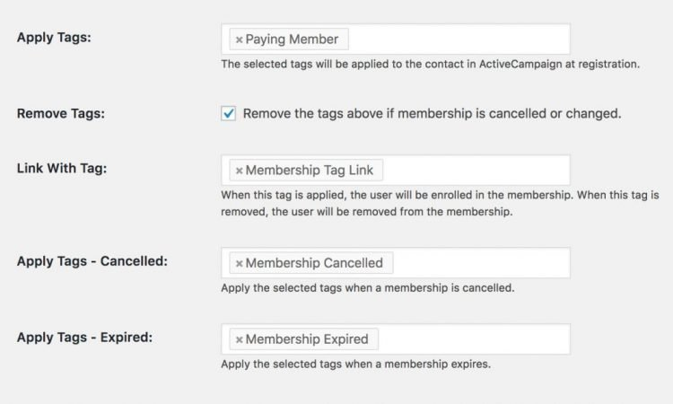 Apply tags when members register or cancel. You can even automatically grant membership levels by applying a tag in your CRM